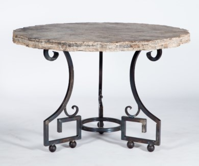 """Kingsley Dining Table with 48"""" Round Live Edge Marble Top"""