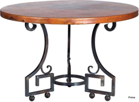 """Kingsley Dining Table with 48"""" Round Hammered Copper Top"""