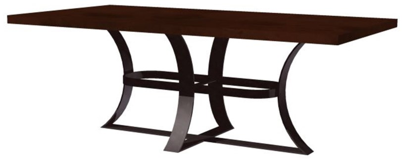 "Avery Dining Table with 72"" x 44"" Rectangle Dark Brown Hammered Copper Top"