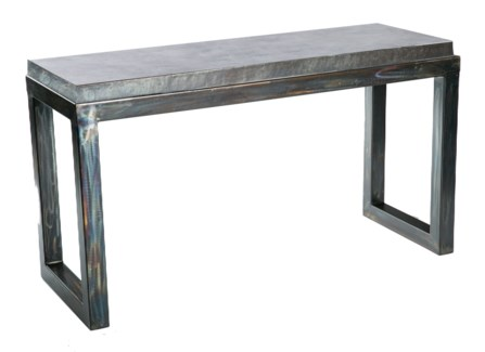 Chester Console Table with  Hammered Zinc Top