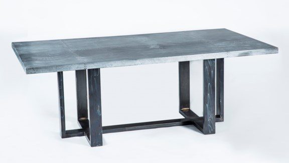 Milo Rectangle Dining Table with Rectangle Hammered Zinc Top