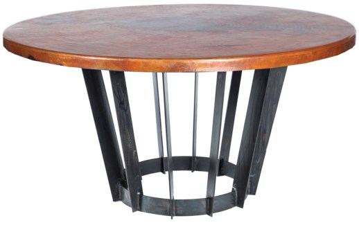 "Dexter Dining Table with 48"" Round Natural Hammered Copper Top"