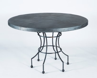 "Dominic Dining Table with 48"" Hammered Zinc Top"