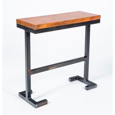 Bullock Accent Table With Natural Hammered Copper Top Accent - Copper top accent table