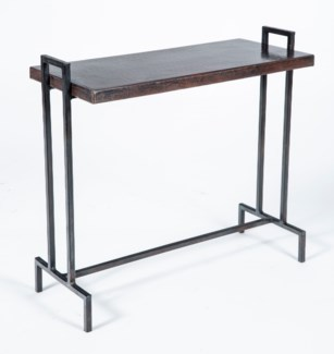Slim Rectangle Accent Table with Dark Brown Hammered Copper Top
