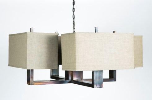 Oliver 4-Arm Chandelier with Grey/Gold Rectangle Shades