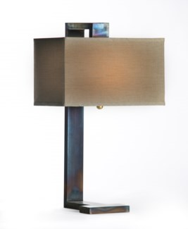 Riley Iron Table Lamp with Hanging Rectangle Grey/Gold Shade