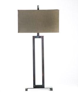 Lucas Rectangular Iron Lamp Table Lamp with Rectangle Grey/Gold Shade