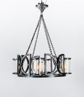 Lancaster 4 Light Round Chandelier with Clear Hurricanes