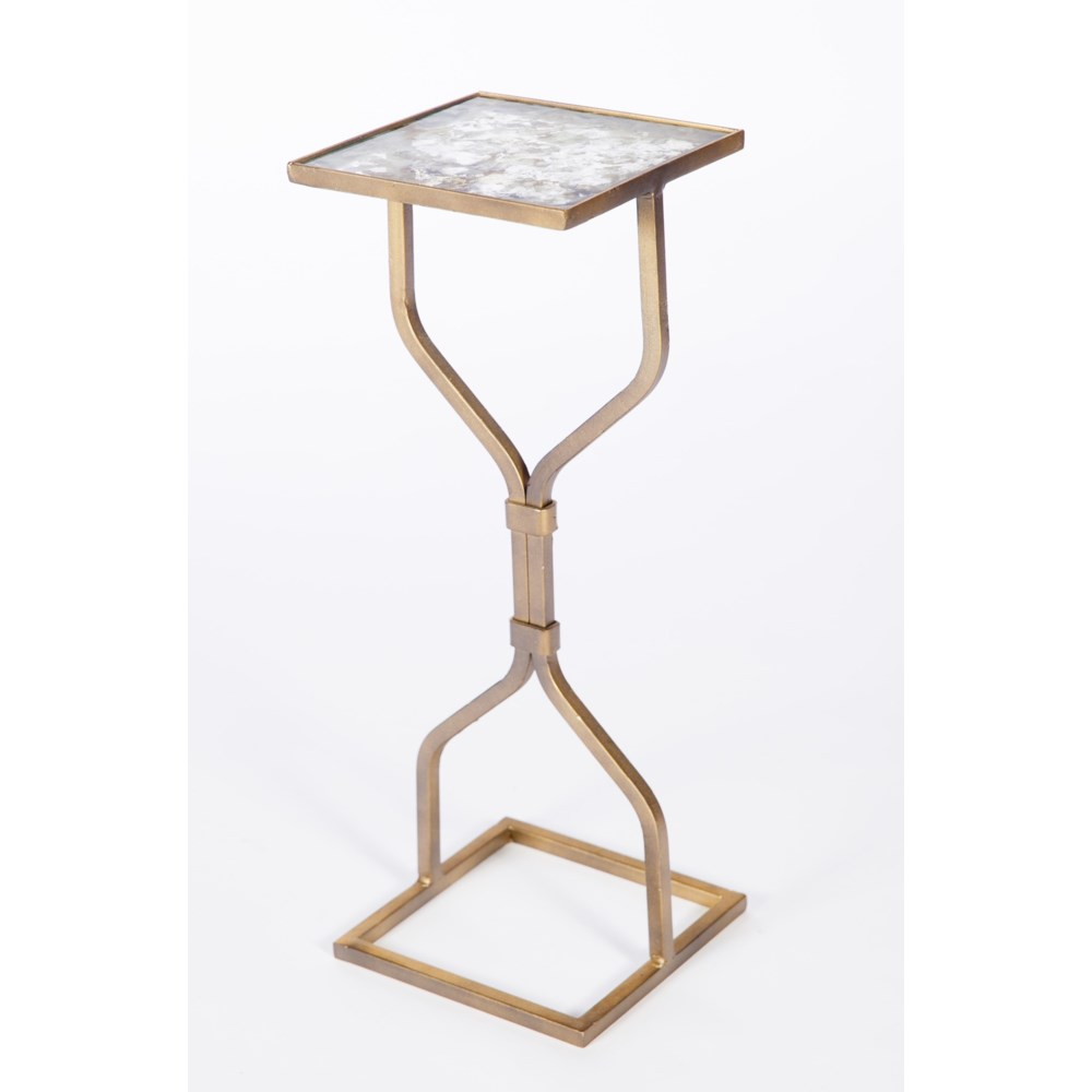 Flat Stock Side Table in Antique Gold w/ Top in Oyster Shell