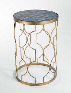 Retro Pattern Accent Table in Antique Gold with Glass Top in Mythic