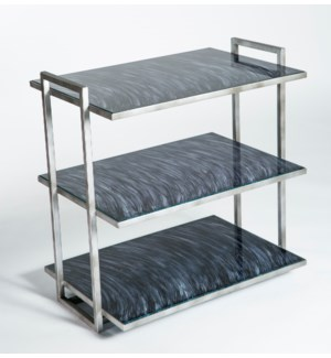 3 Tier Shelf in Antique Silver with Glass Shelves in Mythic