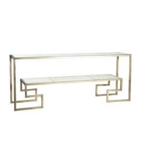 Greek Key Console Table in Antique Gold with Glass Shelves in Wrinkled Linen