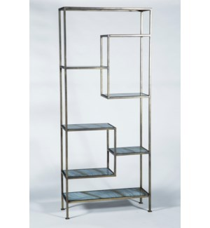 Solomon Etagere in Antique Brass with Glass Shelves in Cheers Finish