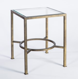 Open Ring Side Table in Antique Brass with Mirrored Top