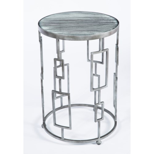 Geometric Accent Table in Antique Silver with Top in Black Sand Finish