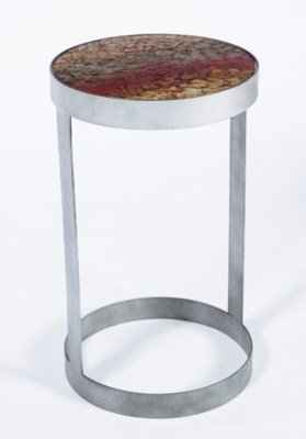 Timothy Accent Table in Antique Silver with Top in Black Magic Finish