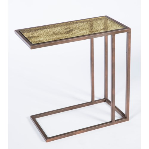 Walter Accent Table in Antique Copper withTop in Glimmer Finish