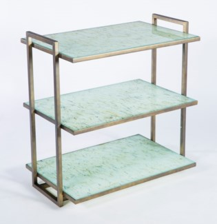 Windham 3 Tier Shelf in Antique Brass with Glass Shelves in Wrinkled