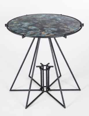 Marva Side Table in Black with Glass Shelves in Galaxy Storm Finish