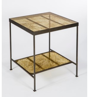 Carlos Side Table in Antique Bronze with Shelves in Glimmer Finish