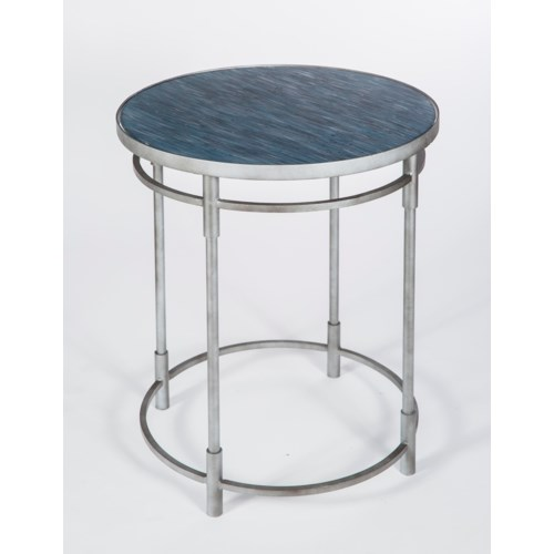 Russell Side Table in Antique Silver with Glass Shelves in Mythic Finish