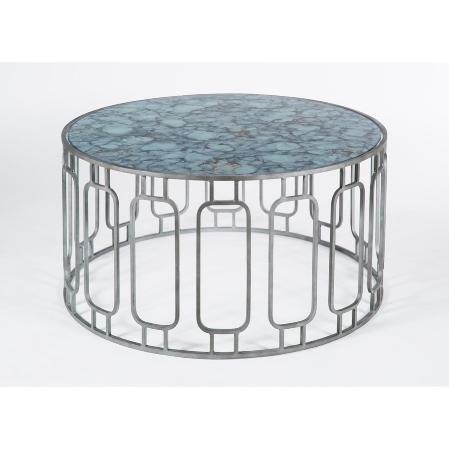 Murray Cocktail Table in Antique Silver with Glass Shelves in Crucible Finish