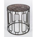 Murray Side Table in Antique Sillver with Glass Shelves in Graphite Finish