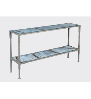 Graham Console Table in Bronze Finish with Glass Shelves in Cheers Finish
