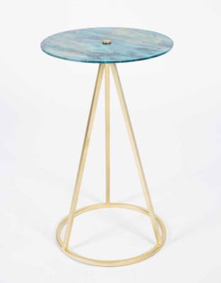 Savannah Accent Table in Gold with Glass Top in Stormy Finish