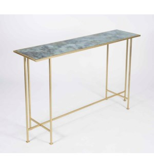 Macon Console Table in Gold with Glass Shelf in Cathedral Stone Finish