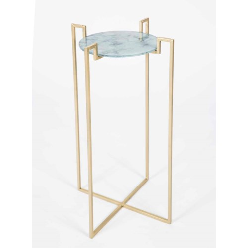 Dora Accent Table in Gold with Glass Shelf in Cathedral Stone Finish