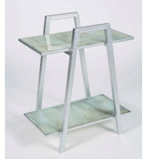 Arthur Accent Table in Silver with Shelves in Smoke Finish