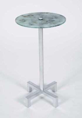 Cameron Accent Table in Silver with Glass Shelf in Cathedral Stone Finish