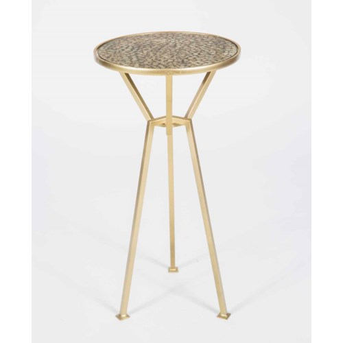 Amelia Accent Table in Gold with Glass Top in Glorious Gold Finish