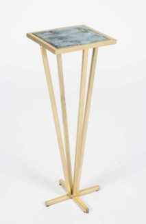 Gabrielle Accent Table in Gold with Glass Top in Cathedral Stone Finish