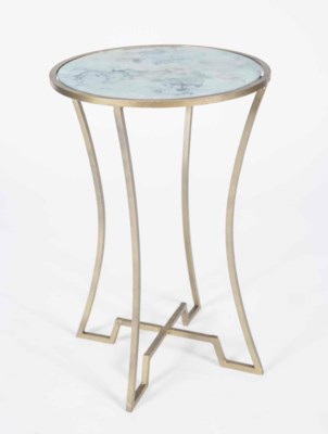 Marissa Accent Table in Antique Brass with Glass Top in Cathedral Stone Finish