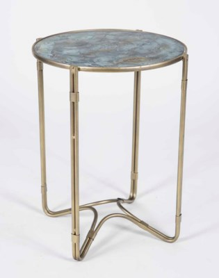 Marco Accent Table in Antique Brass with Glass Top in Agate Finish