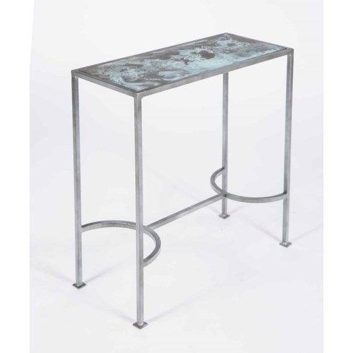 Elena Accent Table in Antique Silver with Glass Top in Lava Gray Finish