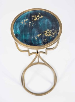 Cora Accent Table in Antique Brass with Glass Top in Abyss Finish