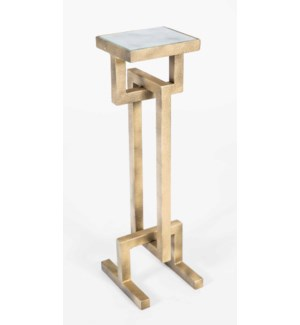 Harriet Accent Table in Antique Brass with Glass Top in Smooth Stone Finish