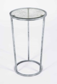 Samuel Accent Table in Antique Silver with Glass Top in Frosted Sky Finish