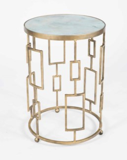 Geometric Accent Table in Antique Brass with Glass Top in Smooth Stone