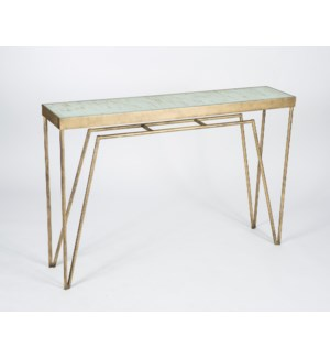 Gregory Console Table in Antique Brass with Glass Top in Spiced Cocoa