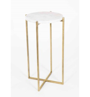 Mia Accent Table in Antique Brass w/White Marble Top