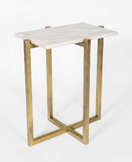 Scarlett Accent Table in Antique Brass w/White Marble Top