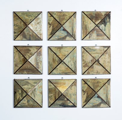 Pyramid Wall Mirrors Set of 9 in Reverse Old Mirror