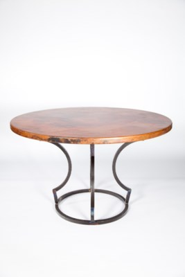 """Charles Dining Table with 48"""" Round Hammered Copper Top"""