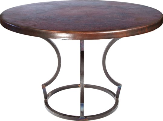 "Charles Dining Table with 48"" Round Dark Brown Hammered Copper Top"