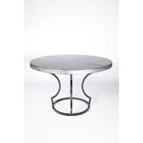 "Charles Dining Table with 48"" Round Hammered Zinc Top"